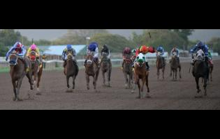 Supreme Soul (left), ridden by Shane Ellis, winning the 45th running of the Jamaica 2000 Guineas run over 1600 metres at Caymanas Park last year.
