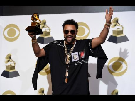 Shaggy with the award for best reggae album for '44/876' at the 61st annual Grammy Awards at the Staples Center in Los Angeles in February.